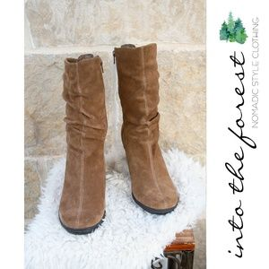 Strictly Comfort Brown Suede Leather Wedge Boot 10